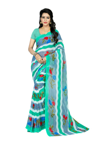 Blue Color Art Silk Saree  - stripes-blue