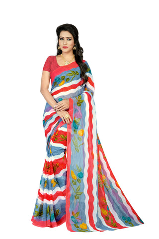 Red Color Art Silk Saree  - stripes-red