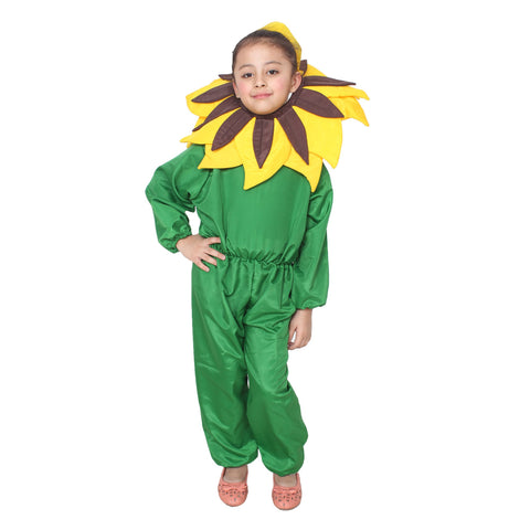 Yellow And Green Color Cotton Blend Fancy Costume Dress  - sunflower-1