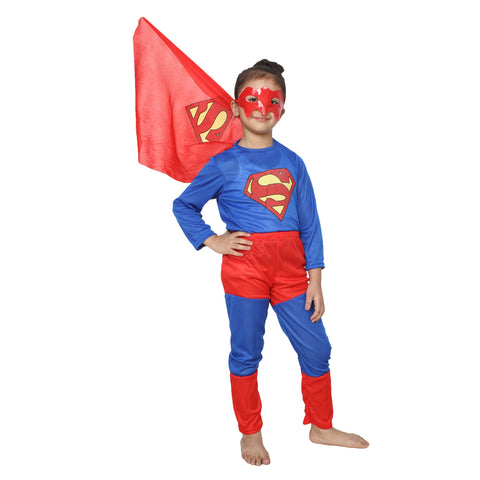 Blue Color Cotton Blend Fancy Costume Dress  - superman-1