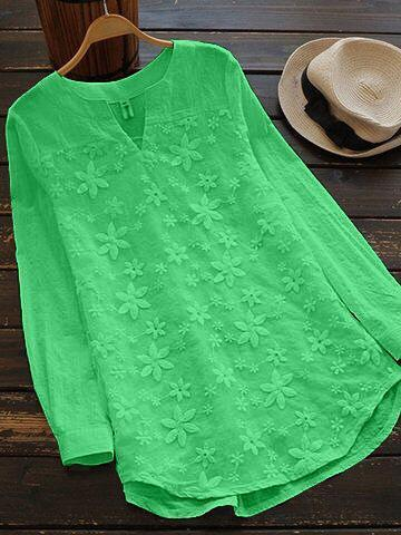Green Color Cotton Women Top - t-1139
