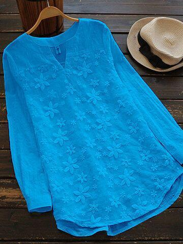 Sky Blue Color Cotton Women Top - t-4139