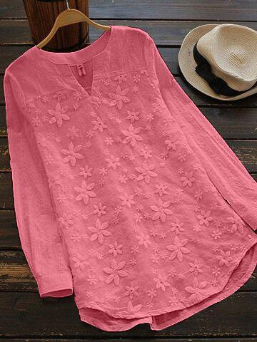 Pink Color Cotton Women Top - t-7139