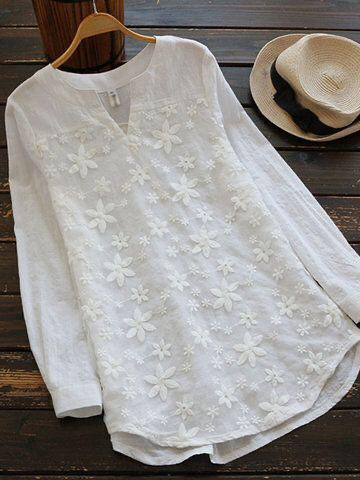 White Color Cotton Women Top - t-8139