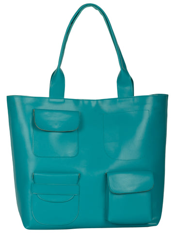 Teal Color PU Women Hand Bag - AWBT1TL