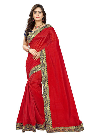 Red Color Lycra Saree - tam-tam-red