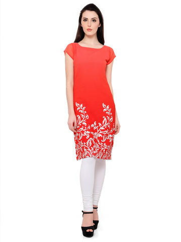 Red Color Chiffon Stitched Kurti - tfkucffp-10085