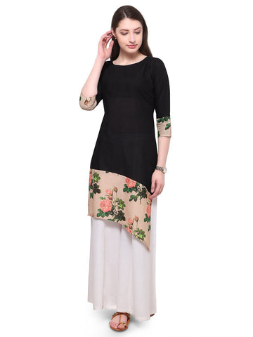 Black Color Cotton Stitched Kurti - tfkucodd-10164