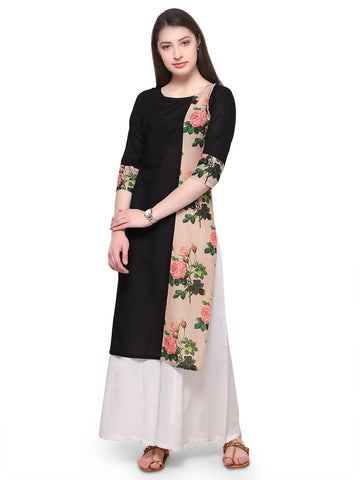 Black Color Cotton Stitched Kurti - tfkucodd-10165