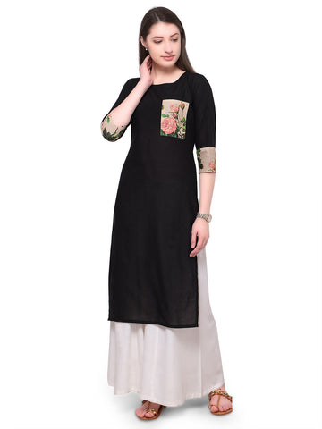 Black Color Cotton Stitched Kurti - tfkucodd-10166