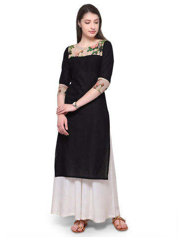 Black Color Cotton Stitched Kurti - tfkucodd-10167