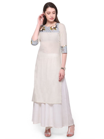 White Color Cotton Stitched Kurti - tfkucodd-10168