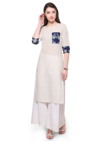 White Color Cotton Stitched Kurti - tfkucodd-10169