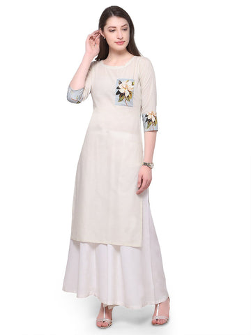 White Color Cotton Stitched Kurti - tfkucodd-10170