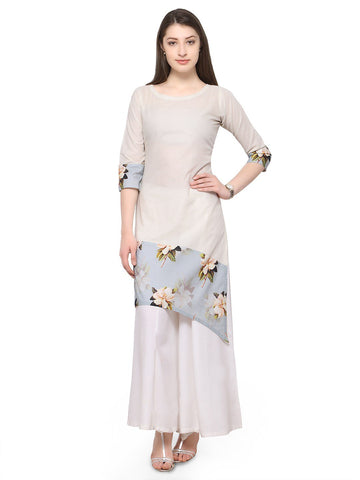 White Color Cotton Stitched Kurti - tfkucodd-10171