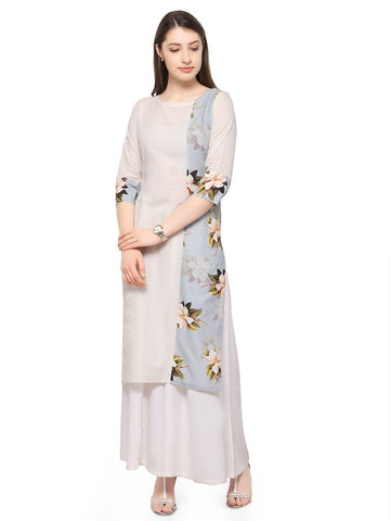 White Color Cotton Stitched Kurti - tfkucodd-10172