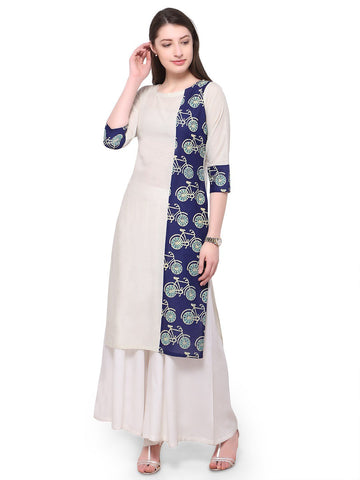 White Color Cotton Stitched Kurti - tfkucopg-10153