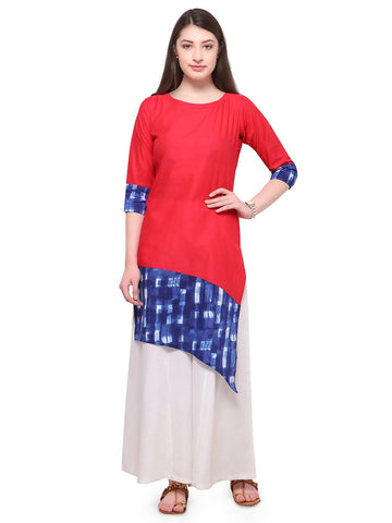 Red Color Cotton Stitched Kurti - tfkucowp-10154