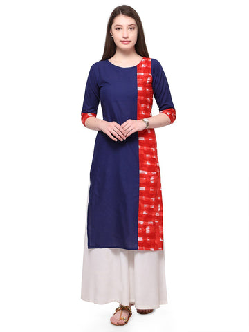 Blue Color Cotton Stitched Kurti - tfkucowp-10156