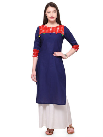 Blue Color Cotton Stitched Kurti - tfkucowp-10157