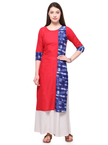 Red Color Cotton Stitched Kurti - tfkucowp-10158