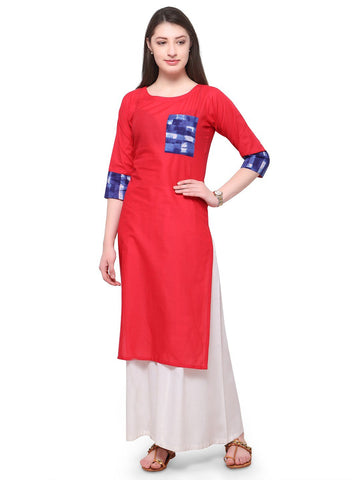 Red Color Cotton Stitched Kurti - tfkucowp-10159