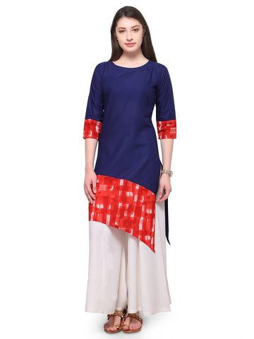Blue Color Cotton Stitched Kurti - tfkucowp-10160