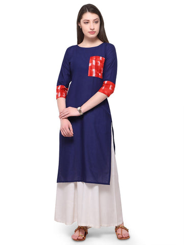 Blue Color Cotton Stitched Kurti - tfkucowp-10161