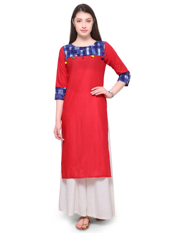 Red Color Cotton Stitched  Kurti - tfkucowp-10163