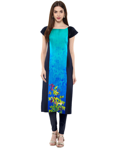 Blue Color Crepe Stitched Kurti - tfkucrdp-10040