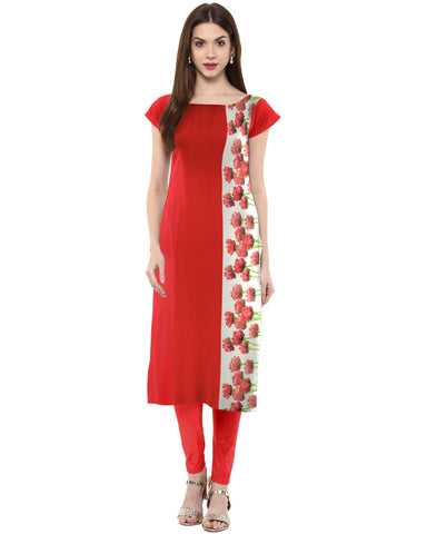 Red Color Crepe Stitched Kurti - tfkucrdp-10043