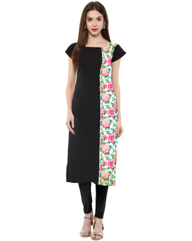 Black Color Crepe Stitched Kurti - tfkucrdp-10044