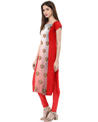 Red Color Crepe Stitched Kurti - tfkucrdp-10045