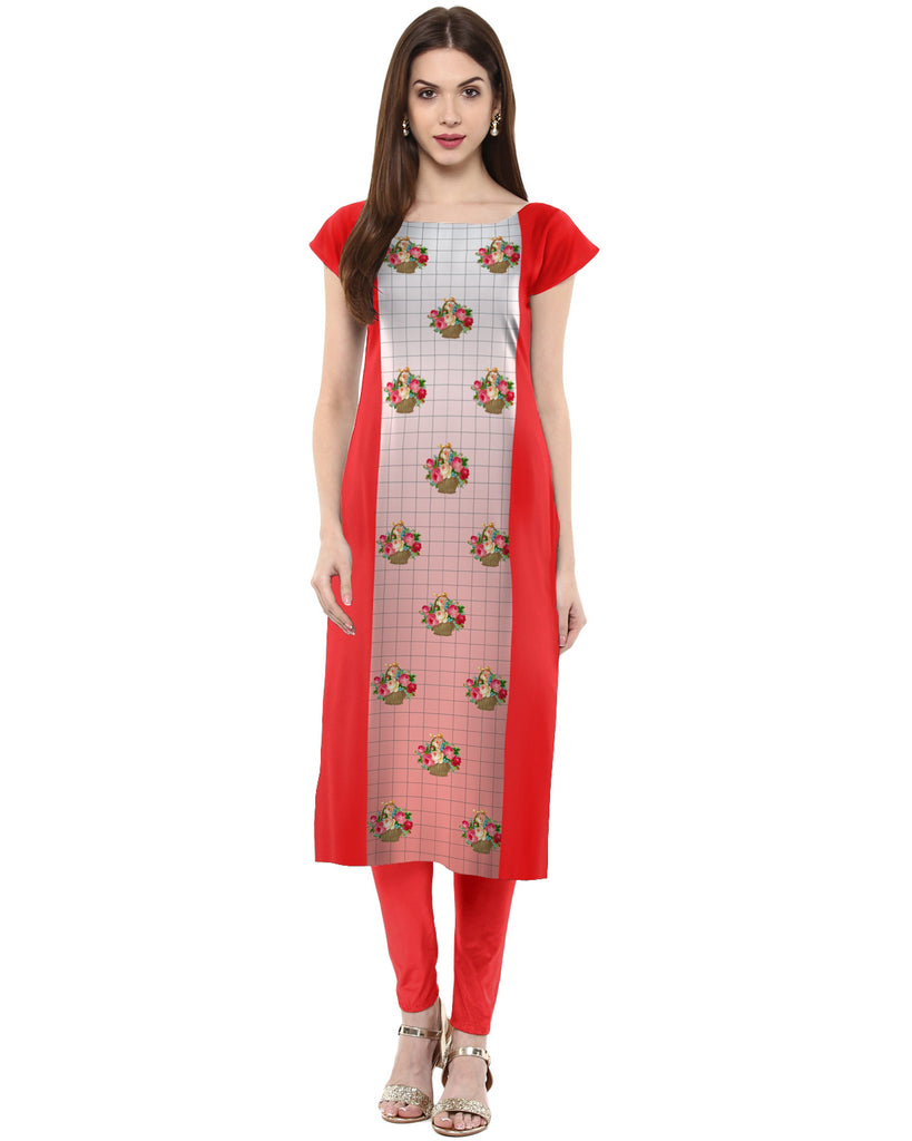Red Color Crepe Kurti