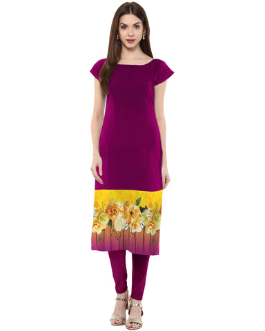 Purple Color Crepe Stitched Kurti - tfkucrdp-10046