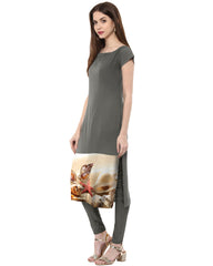 Grey Color Crepe Kurti - tfkucrdp-10050