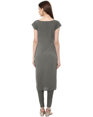 Grey Color Crepe Stitched Kurti - tfkucrdp-10050