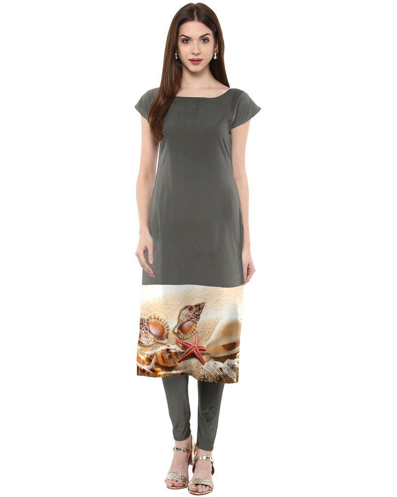 Grey Color Crepe Kurti