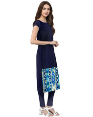 Blue Color Crepe Stitched Kurti - tfkucrdp-10076
