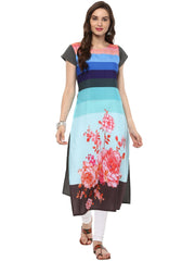 Multi  Color Crepe Stitched Kurti - tfkucrdp-10088