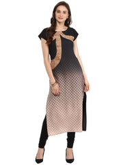 Multi  Color Crepe Kurti - tfkucrdp-10090