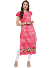 Red Color Crepe Stitched Kurti - tfkucrdp-10095