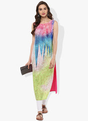 Multi Color Crepe Stitched Kurti - tfkucrdp-10096
