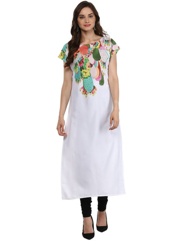 White Color Crepe Stitched Kurti - tfkucrdp-10098
