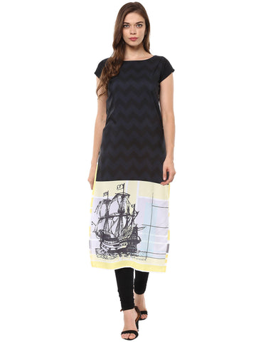 Black Color Crepe Stitched Kurti - tfkucrdp-10101
