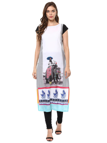 Multi Color Crepe Stitched Kurti - tfkucrdp-10103