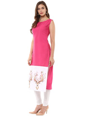 Pink Color Crepe Stitched Kurti - tfkucrdp-10104