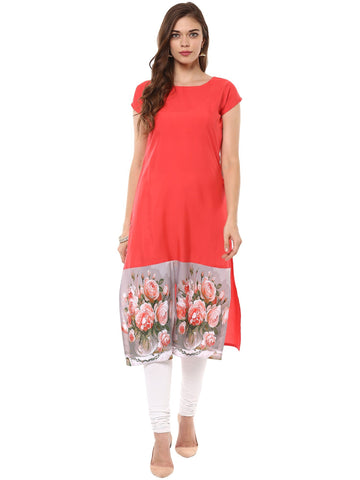 Red Color Crepe Stitched Kurti - tfkucrdp-10105
