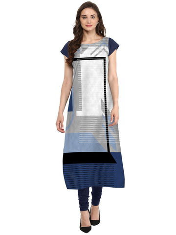 Multi Color Crepe Stitched Kurti - tfkucrdp-10112