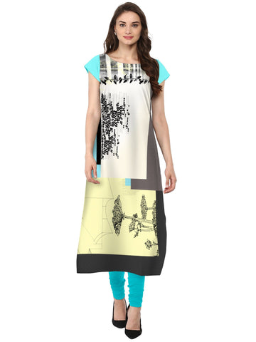 Multi Color Crepe Stitched Kurti - tfkucrdp-101131